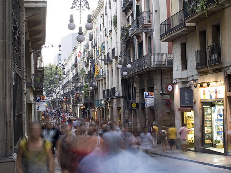 Moviéndose en Barcelona.