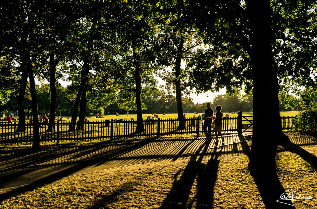 Atardecer en los jardines de Holland Park de Londres.